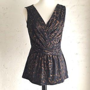 [T Tahari] leopard print v-neck blouse